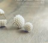 时尚珍珠圆形璀璨细米珠耳钉