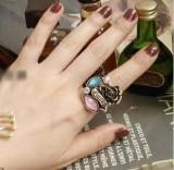 韩复古铜色水钻彩钻玫瑰花朵开口女戒指环戒子