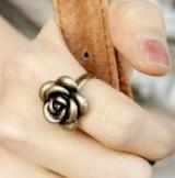 @特价@韩国流行 古铜色 复古百搭玫瑰花 开口戒指 指环