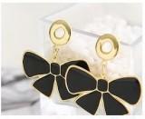 金色蝴蝶结多彩滴油耳环(黑色)