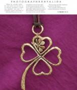 韩版时尚 镂空复古幸运大四叶草皮绳项链