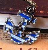 @特价@海洋时代复古玫瑰船锚 镶钻 项链