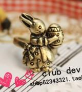 新款 饰品 批发 复古 可爱小兔子 戒指