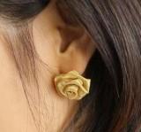 韩版气质 纱网纱玫瑰花朵耳钉 立体玫瑰花耳钉