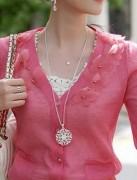 @特价@波西米亚饰品镂空花纹吊坠 项链 女 毛衣链(银色)