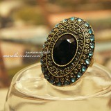 外贸饰品 蓝色镶钻宝石 月光宝盒戒指