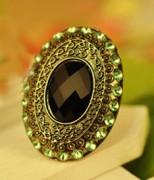 外贸饰品 绿色镶钻宝石 月光宝盒戒指