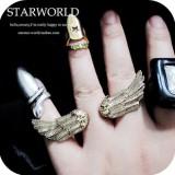 (古银色)韩国 女 双指连排戒指 复古朋克潮人天使翅膀戒指 指环