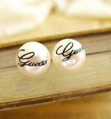 欧美外贸饰品 复古 批发字母简约气质 珍珠耳钉