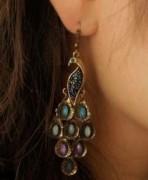 优雅复古民族风孔雀小姐 镶钻百搭气质春夏耳环