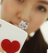 """""""特价处理""""(粉钻皇冠)满钻水钻可爱萌物iphone手机耳机防尘塞"""