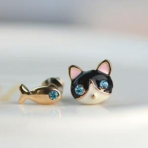 @特价@2015新款 韩国饰品 小巧猫和鱼耳环耳钉耳饰韩版可爱女
