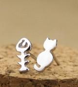 韩版 个性不对称耳饰 可爱小猫和鱼骨头耳钉
