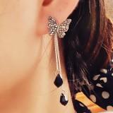 韩国蝴蝶 满钻流苏长款水滴吊坠耳钉 两用 耳环 耳坠耳饰