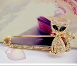 日韩饰品 可爱绿眼小猫镶钻胸针