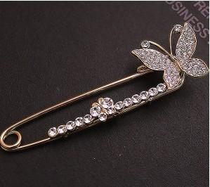 韩版饰品 高贵满钻蝴蝶胸针 精致别针 胸花 宴会必备