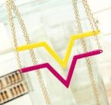 欧美朋克风 糖果荧光色V形三角形几何项链长项链