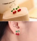 @特价@韩版小饰品 红色小樱桃可爱耳钉 甜蜜的feel 耳环 耳饰