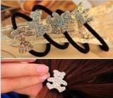 韩版合金镶钻水晶水钻发圈蝴蝶结发饰 卡通图案发绳皮筋