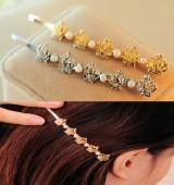 新款 韩版饰品珍珠镶钻皇冠一字夹发夹边夹夹子发饰