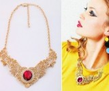 欧美时尚饰品批发 镂空金属蕾丝宝石 项链女