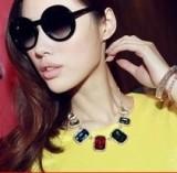 @特价@(卡片包装)韩国夸张大宝石水晶项链女 长方形锁骨链哥特饰品