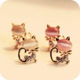 可爱裸色猫眼石 小猫气质 耳钉 耳环