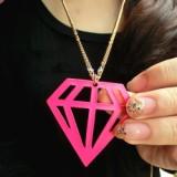 @特价@欧美时尚 荧光镂空钻石毛衣链 三角形项链