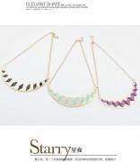 欧美朋克复古滴釉半圆项链锁骨链个性时尚首饰饰品