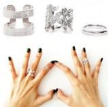 韩国饰品 超赞叶片三件套金属关节戒指女士 韩版正品首饰品指环