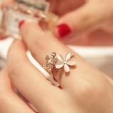 韩版猫眼石花朵水钻 可调节女小雏菊开口戒指