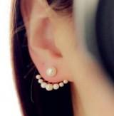 时尚精致百搭小珍珠后挂式可爱俏皮耳钉