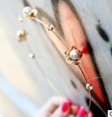 宫廷金色花朵珍珠水钻超细精美发箍