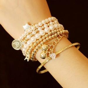 @特价@多元素埃菲尔铁塔珍珠复古手镯 韩国韩版饰品多层手链