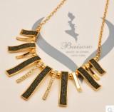 韩国时尚项链 几何形状磨砂贴纸质感女短款锁骨项链
