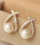 交叉 珍珠 闪钻 耳钉 时尚饰品