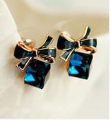 水晶方块可爱蝴蝶结耳钉锆石时尚气质百搭耳钉