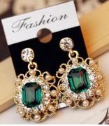 韩国耳钉女士饰品 镶钻珍珠 复古时尚璀璨水晶方形耳环
