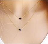 速卖通 欧美外贸 极致简约 简单双层 黑色水晶款项链颈链