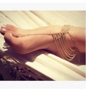 速卖通爆款 欧美外贸热销脚饰 新款夏季百搭热款 时尚 街拍 多层链条连指脚链