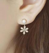 韩国最新款饰品耳钉小香风淑女珍珠钻五叶花耳钉耳饰韩版女