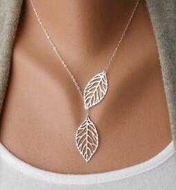速卖通欧美时尚潮流首饰森系金属树叶双叶子百搭短款项链锁骨链