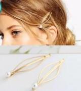 简约大气欧美风饰品 百搭珍珠金色发夹边夹发卡头饰发饰(单个价)