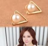 韩国时尚复古三角形珍珠耳钉淑女耳饰