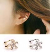 韩国饰品可爱镶钻花朵 无耳洞耳环U型夹 耳骨夹海星耳钉