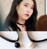 韩剧IU明星同款 韩国黑色珍珠吊坠韩版颈链短项链