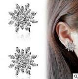 时尚高档耳饰品 精致水钻璀璨镶钻雪花耳钉