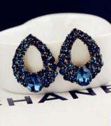 速卖通 水滴镶钻蓝宝石时尚耳钉耳环