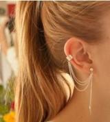速卖通欧美外贸个性耳环耳夹 金属树叶流苏耳环耳夹