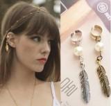 复古饰品珍珠树叶吊坠耳骨 耳夹耳环饰品批发单个价
